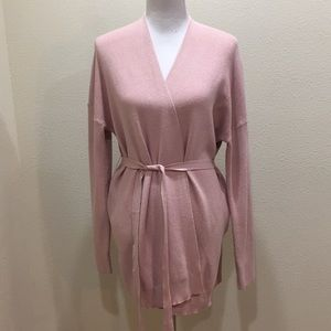 Pink Wrap Belted Cardigan